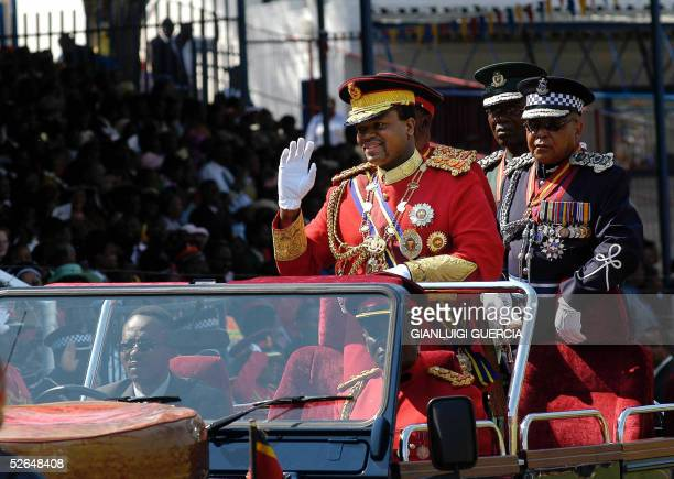 His Majesty King Mswati III, King of Swaziland, arrives, 19 April 2005,to Manzini Stadium for the Celebration of his 37th Birthday to Manzini...