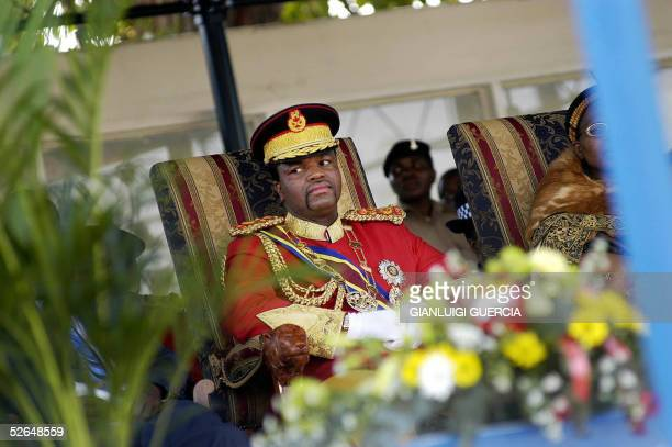 His Majesty King Mswati III, King of Swaziland, listens, 19 April 2005, to the Swaziland Dignitaries speeches during the celebration of his 37th...