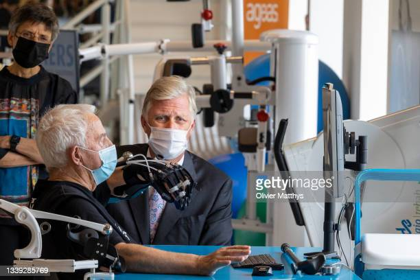 His Majesty King Philippe of Belgium visits REVAlution, the To Walk Again post-rehabilitation center at the Academic Hospital AZ on September 09,...