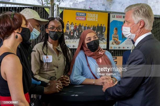 His Majesty King Philippe of Belgium visits the Foyer des Jeunes des Marolles and the Froidure Federation on the occasion of their 60th birthday and...