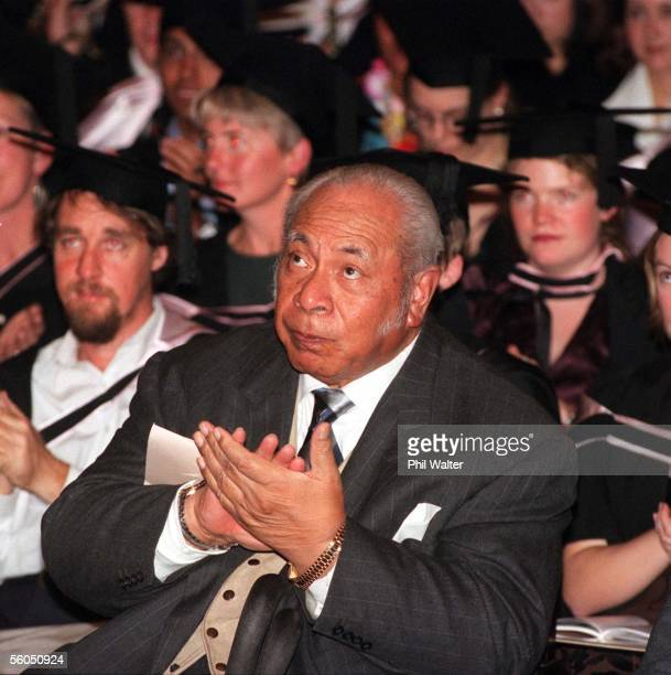 His Majesty King Taufa'Ahau Tupou IV of Tonga claps as his granddaughter Eiki Salote Lupepau'u Salamasina Pulea Vahine Ariioehau Tuita receives her...