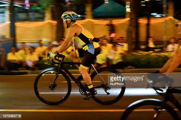 His Majesty King Vajiralongkorn cycles during the cycling event quotUn Ai Rak Bicycle Ridequot in Bangkok Thailand on 09 December 2018