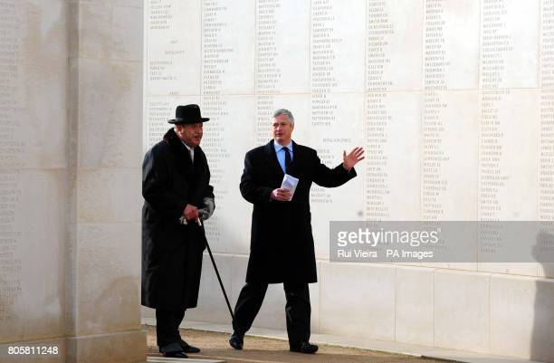 His Majesty The King of Tonga, King Taufa'ahau Tupou V, and Brigadier Michael Smythe OBE, during a tour of the National Memorial Arboretum in Alrewas.