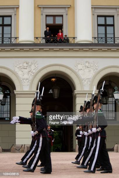 His Majesty The King's Guard parade at Palace Square watched by King Harald V of Norway and Queen Sonja of Norway from the balcony on August 16 2010...