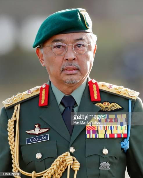His Majesty Yang diPertuan Agong AlSultan Abdullah Ri'ayatuddin AlMustafa Billah Shah of Malaysia attends The Sovereign's Parade at the Royal...