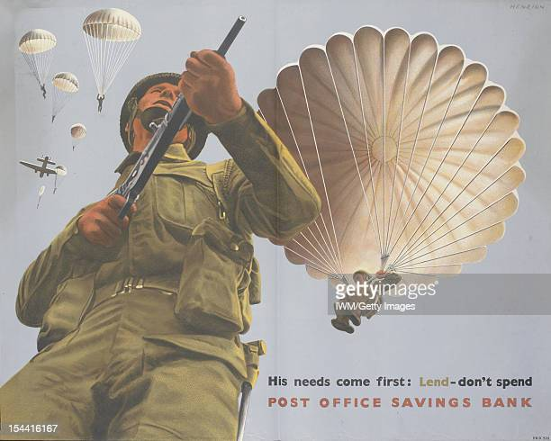 His Needs Come First A halflength depiction of a British paratrooper illustrated from a low viewpoint holding a rifle in both hands Several more...