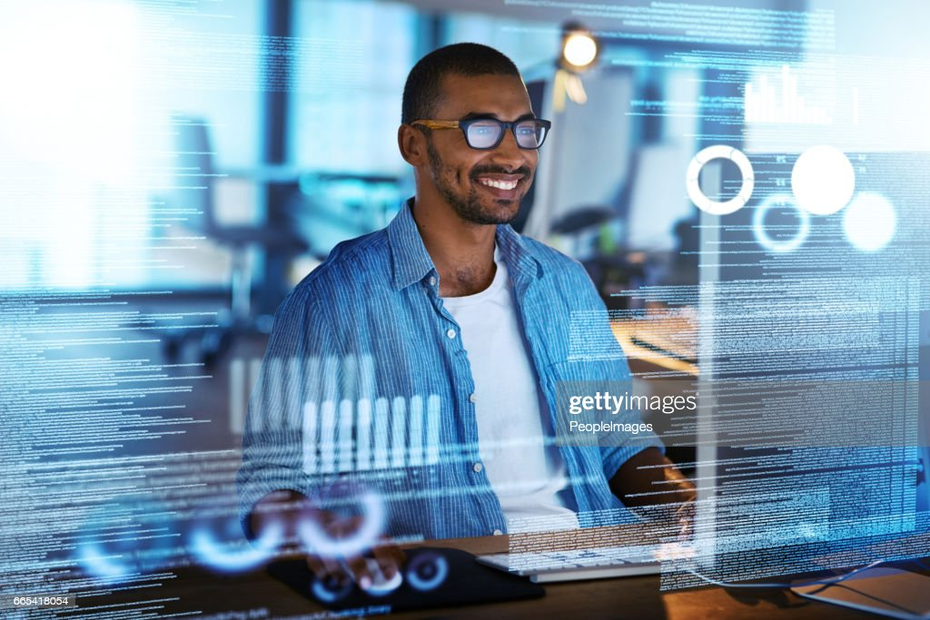 His new program is running smoothly : Stock Photo