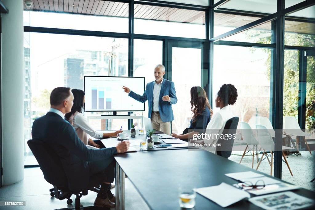 His presentations are always informative : Stock Photo