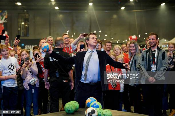 His Royal Highness Crown Prince Frederik of Denmark in the fanzone prior to the IHF Men's World Championships Handball match between Chile and...