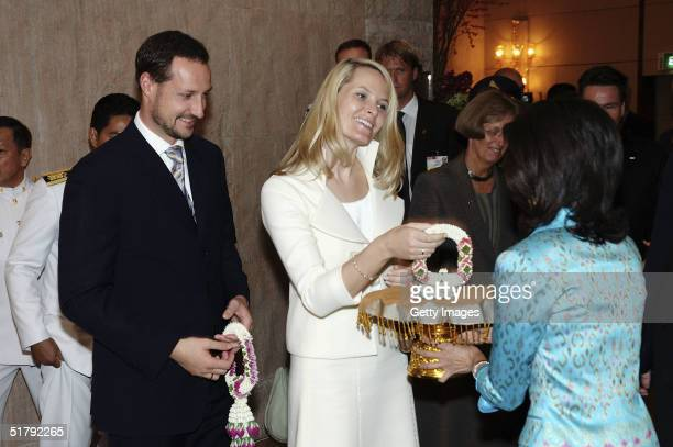His Royal Highness Crown Prince Haakon and Her Royal Highness Crown Princess Mette-Marit arrive for a Telenor/DTAC presentation at the Conrad Hotel,...