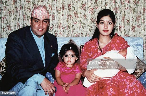 His Royal Highness Crown Prince Paras Bir Bikram Shah Dav their daughter and Princess Himani holding Prince Navayuwaraj