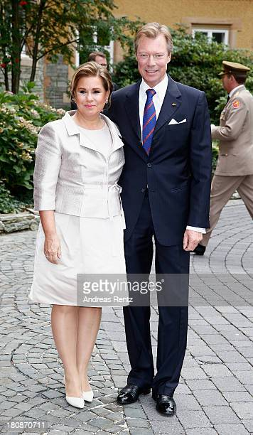 His Royal Highness Grand Duke Henri of Luxembourg and Her Royal Highness Grand Duchess Maria Teresa of Luxembourg arrive at the Civil Wedding Of...