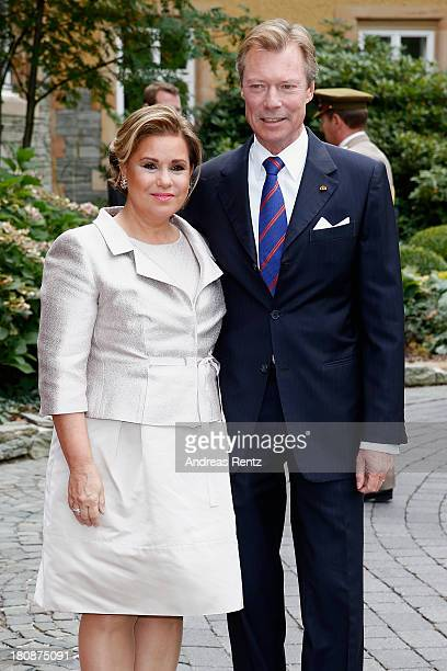 His Royal Highness Grand Duke Henri of Luxembourg and Her Royal Highness Grand Duchess Maria Teresa of Luxembourg arrive to the Civil Wedding Of...