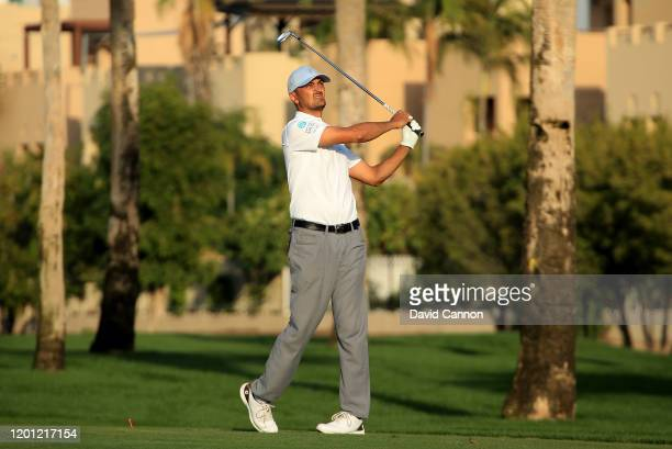His Royal Highness Khalid Al Faisal of Saudi Arabia plays a shot during the proam as a preview for the Omega Dubai Desert Classic on the Majlis...