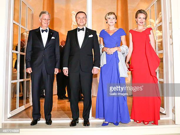 His Royal Highness Philippe King Of Belgium and Her Royal Highness Mathilde Queen Of Belgium Polish President Andrzej Duda First Lady of Poland Agata...