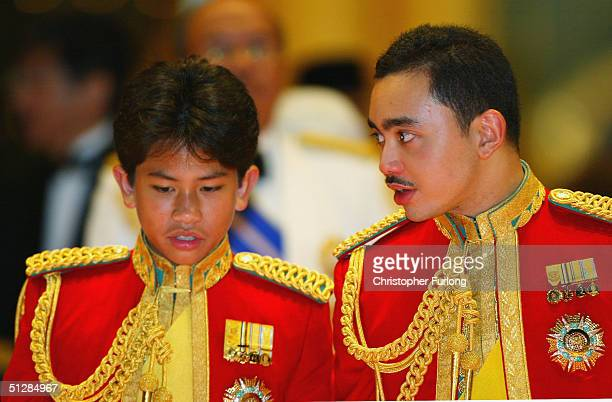 His Royal Highness Prince Abdul Mateen, the youngest child of The Sultan, and Prince Abdul Malik attend the Majlis Istiadat Persantapan Pengantin...