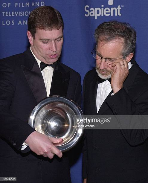 """His Royal Highness Prince Andrew, The Duke of York, left, and Director Steven Spielberg, honored with the """"Stanley Kubrick Britannia Award for..."""