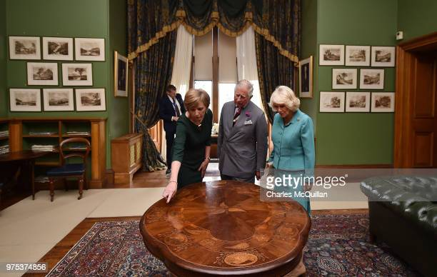 His Royal Highness Prince Charles and Her Royal Highness the Duchess of Cornwall are given a tour on their visit to Muckross House on June 15 2018 in...