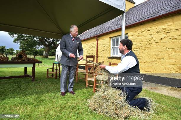 His Royal Highness Prince Charles is given a demonstration in the art of wicker chair making on his visit to Muckross House on June 15 2018 in...