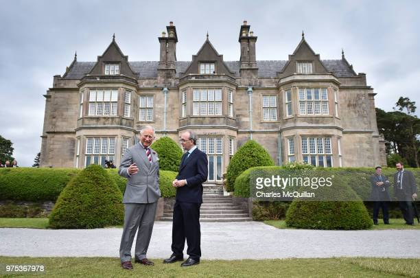His Royal Highness Prince Charles is given a tour of the gardens by Phillip Buckley Head of National Parks on his visit to Muckross House on June 15...