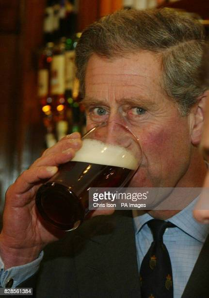 His Royal Highness Prince Charles samples a pint of beer during his visit to the village of Poundbury in Dorset * The Prince officially opened the...