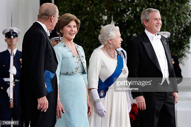 His Royal Highness Prince Philip the Duke of Edinburgh First Lady Laura Bush Her Majesty Queen Elizabeth II and US President George W Bush pose for...