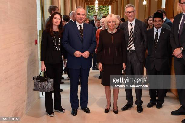 His Royal Highness Sultan Nazrin Shah of Perak Malaysia his wife Tuanku Zara Salim and Camilla Duchess of Cornwall visit Worcester College Oxford...
