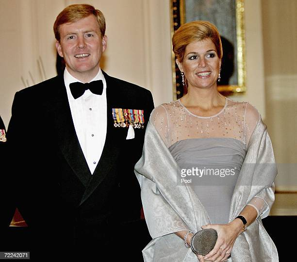 His Royal Highness The Prince of Orange and Her Royal Highness Princess Maxima of The Netherlands pose before a state dinner at the Governor's House,...