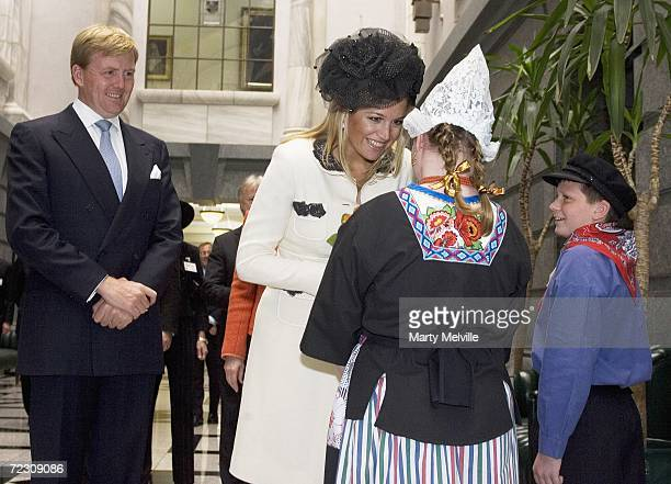 His Royal Highness The Prince of Orange and Her Royal Highness Princess Maxima of The Netherlands receive gifts from young members of the Dutch...