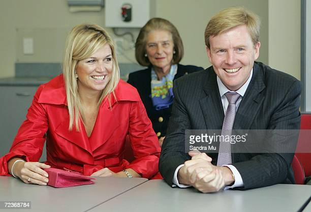His Royal Highness The Prince of Orange and Her Royal Highness Princess Maxima of The Netherlands take seats during a visit to the creche at Selwyn...
