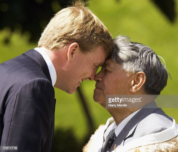 His Royal Highness The Prince of Orange of The Netherlands recieves a Hongi from Sam Jackson during a Maori welcome at Government House on the ninth...