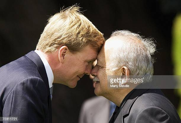 His Royal Highness The Prince of Orange of The Netherlands recieves a Hongi from Kaumatua Peter Love during a Maori welcome at Government House on...