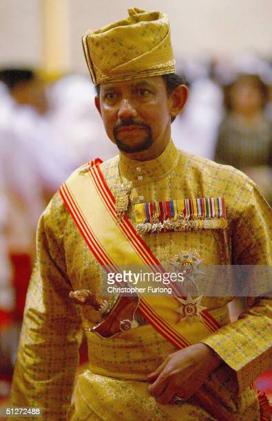 BEGAWAN BRUNEI SEPTEMBER 8 His Royal Highness The Sultan of Brunei takes part in the traditional wedding ceremony of Berinai September 8 Bandar Seri...