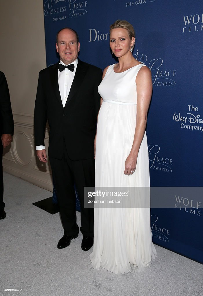His Serene Highness Prince Albert II of Monaco and Her Serene Highness Princess Charlene of Monaco (R) attend the 2014 Princess Grace Awards Gala with presenting sponsor Christian Dior Couture at the Beverly Wilshire Four Seasons Hotel on October 8, 2014 in Beverly Hills, California.