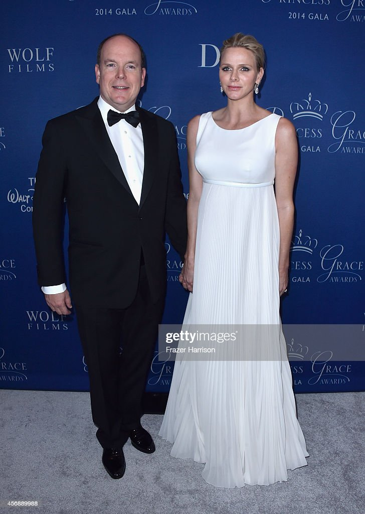 His Serene Highness Prince Albert II of Monaco (L) and Her Serene Highness Princess Charlene of Monaco attend the 2014 Princess Grace Awards Gala at Regent Beverly Wilshire Hotel on October 8, 2014 in Beverly Hills, California.