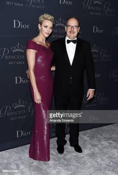 His Serene Highness Prince Albert II of Monaco and Her Serene Highness Princess Charlene of Monaco arrive at the 2017 Princess Grace Awards Gala at...