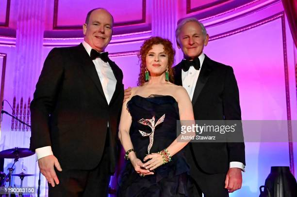 His Serene Highness Prince Albert II of Monaco, Bernadette Peters and Victor Garber pose onstage during the 2019 Princess Grace Awards Galaon...
