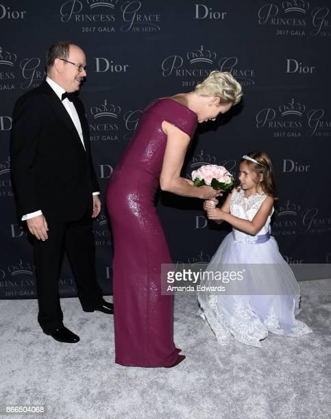 His Serene Highness Prince Albert II of Monaco Her Serene Highness Princess Charlene of Monaco and flowergirl Sloane Levy arrive at the 2017 Princess...