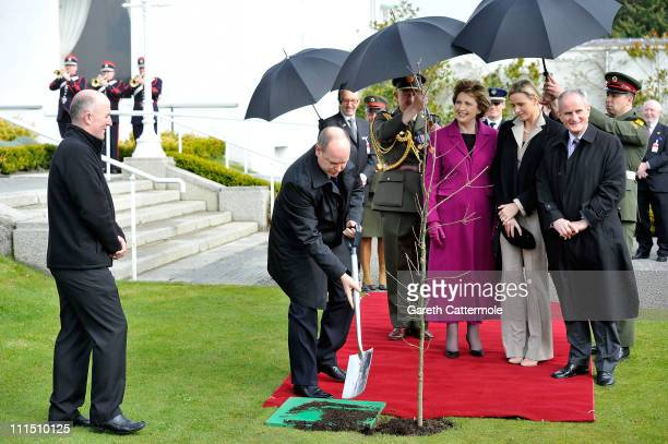 His Serene Highness, Prince Albert II Of Monaco, his fiancee Charlene Wittstock and the Irish President Mary McAleese and her husband Martin attend a...