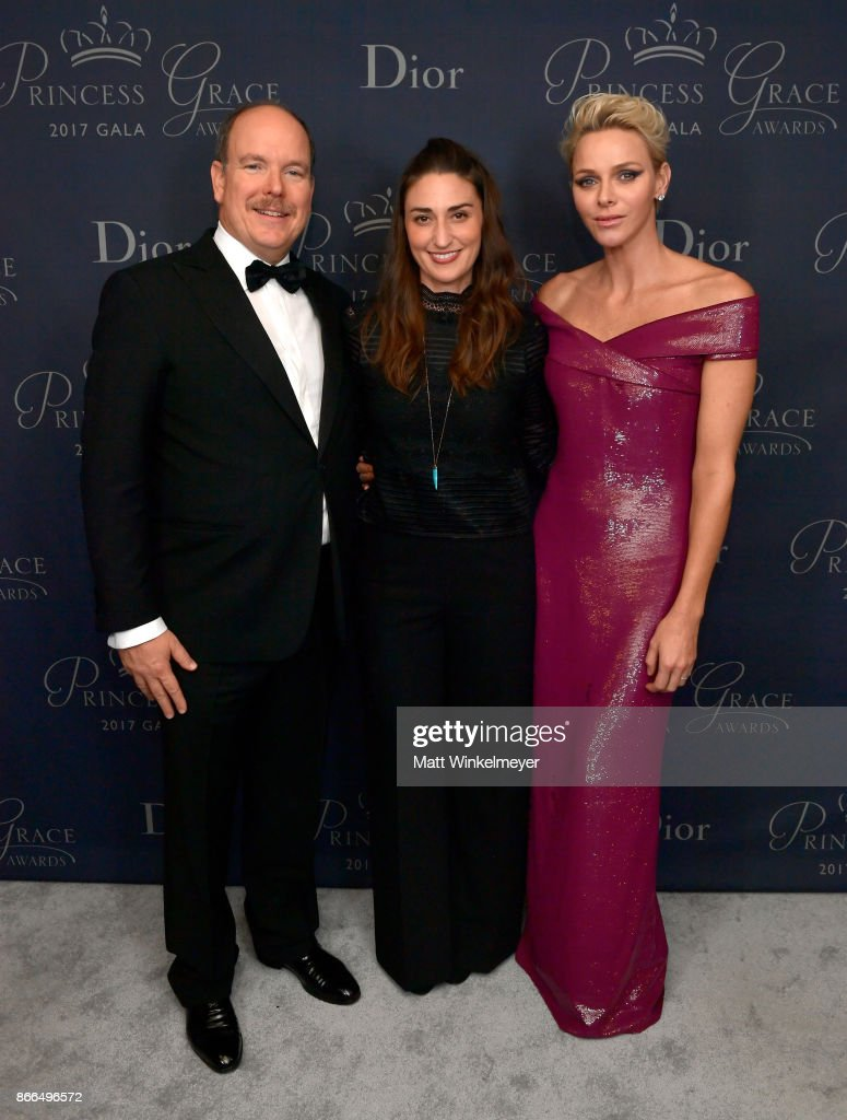 His Serene Highness Prince Albert II of Monaco, Sara Bareilles and Her Serene Highness Princess Charlene of Monaco attend 2017 Princess Grace Awards Gala at The Beverly Hilton Hotel on October 25, 2017 in Beverly Hills, California.