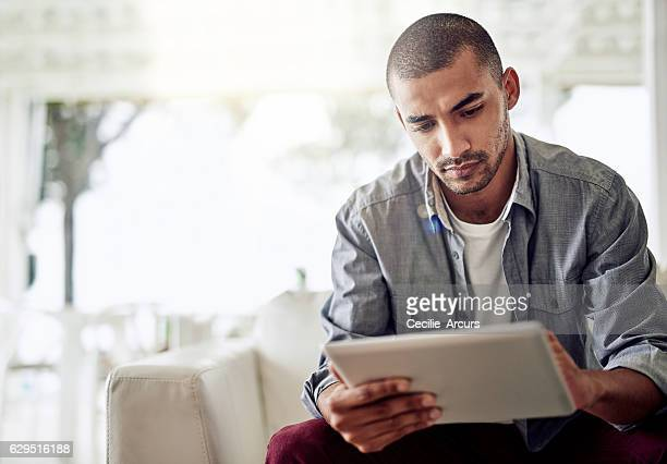 His tablet keeps him connected anywhere at home