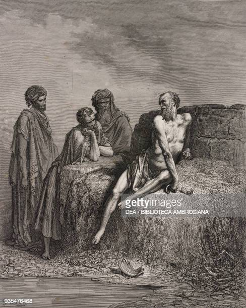 His three friends counsel Job on his dunghill engraving by Gustave Dore from The Holy Scriptures containing the Old and New Testaments Translated...