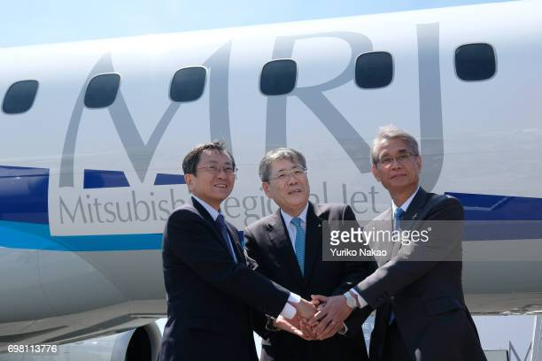 Hisakazu Mizutani Mitsubishi Aircraft Corporation's president Shunichi Miyanaga Mitsubishi Heavy Industries' President and Chief Executive Officer...