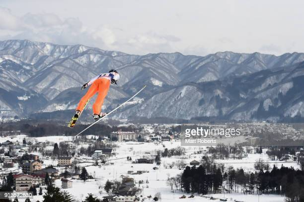 Hisaki Nagamine of Japan competes in the Individual Gundersen LH/10km during day one of the FIS Nordic Combined World Cup Hakuba on February 3 2018...
