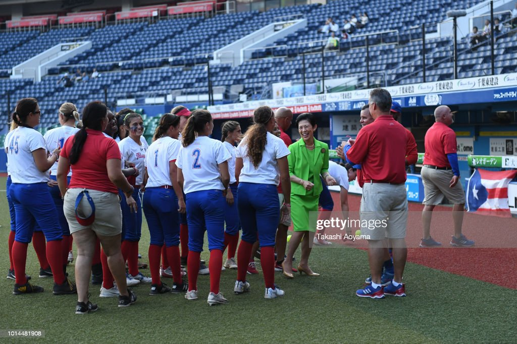 Hisako, Princess Takamado greets players of Puerto Rico ahead of Playoff Round match between Japan and Puerto Rico at ZOZO Marine Stadium on day nine of the WBSC Women's Softball World Championship on August 10, 2018 in Chiba, Japan.