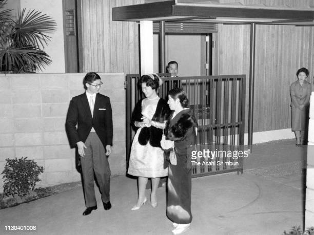 Hisanaga Shimazu, his wife Takako, former Princess Takako and mother Hisako Shimazu are seen at their house after their wedding on March 10, 1960 in...