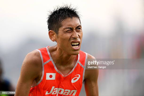 Hisanori Kitajima of Japan looks on after the Men's Marathon on Day 16 of the Rio 2016 Olympic Games at Sambodromo on August 21 2016 in Rio de...