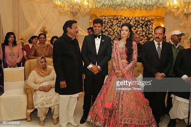 Hisar MP Dushyant Chautala and Meghna Ahlawat daughter of IPS officer IGP Paramjeet Ahlawat during their engagement ceremony on January 3 in Gurgaon...