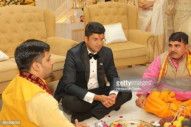 Hisar MP Dushyant Chautala during his engagement ceremony on January 3 in Gurgaon India Dushyant is the grandson of former Haryana Chief Minister Om...