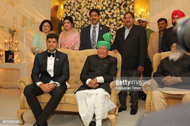 Hisar MP Dushyant Chautala with his grandfather and former Haryana Chief Minister Om Prakash Chautala during his engagement ceremony on January 3 in...